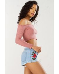 Akira - Multicolor Forever Young Embroidered High Waist Shorts - Lyst