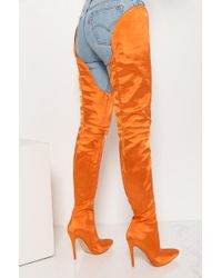 Akira Orange Run Up On You Thigh High Boots