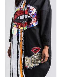 Akira - Black It Was Only A Kiss Sequin Lips Shirt Dress - Lyst