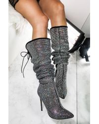 Akira Black You Should Be Dancing Rhinestone Thigh High Stiletto Boots