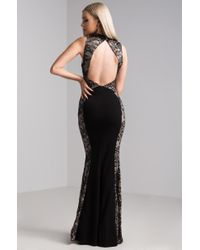 Akira Black Hollywood Hearts Open Back Gown