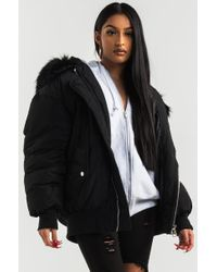 Akira Black Be Present Faux Fur Hood Puffer Coat