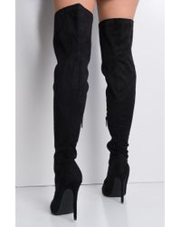 Akira - Black Vivid Memory Over The Knee Stiletto Pointed Toe Boots - Lyst