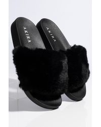 Akira Black Vogue The House Soft Fur Slides