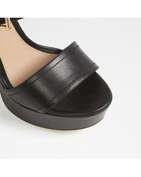 ALDO Black Marijka Chunky Platform Leather Sandals