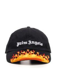"Cappello da baseball ""Burning"" di Palm Angels in Black"