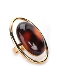 Saint Laurent | Brown Amber Stone Ring | Lyst