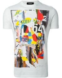 DSquared² | White Abstract Print T-shirt for Men | Lyst