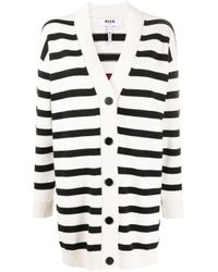 Cardigan oversize a righe con logo di MSGM in Black