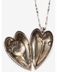 Alexander McQueen - Metallic Heart Locket Necklace - Lyst
