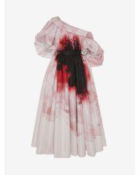 Alexander McQueen Dropped Shoulder Anemone Print Dress - ピンク