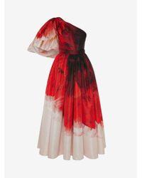 Alexander McQueen Asymmetric Draped Sleeve Anemone Print Dress - レッド