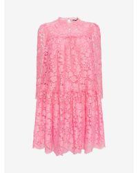 Alexander McQueen | Blue Floral Lace Oversized Dress | Lyst
