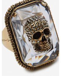 Alexander McQueen Ring Jewelled Skull in Metallic für Herren
