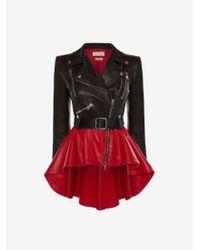 Alexander McQueen Bi-colour Leather Peplum Jacket - ブラック