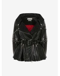 Alexander McQueen Open Neckline Biker Jacket - ブラック