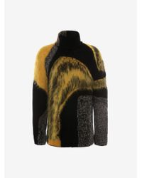 Alexander McQueen 抽象的なインターシャ ロールネック ジャンパー - ブラック