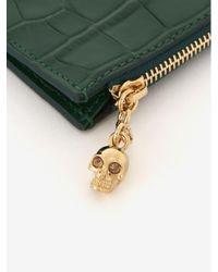 Porta Carte con Zip di Alexander McQueen in Green