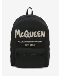 Alexander McQueen マックイーン グラフィティ オーバーサイズ バックパック - ブラック