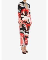 Veste au motif Rose Collage structuré Alexander McQueen en coloris Multicolor