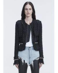 Alexander Wang Black Deconstructed Tweed Jacket