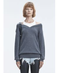 T By Alexander Wang - Gray Bi-layer Off Shoulder W/ Inner Tank Sweater - Lyst