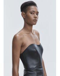 Alexander Wang Black Leather Bustier Dress