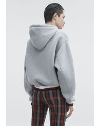 T By Alexander Wang Gray Dense Fleece Hoodie