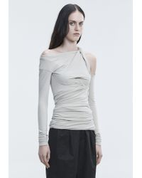 Alexander Wang Gray Bustier Ruched Top