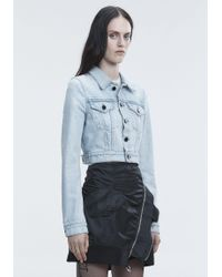 Alexander Wang Blue Bare Cropped Denim Jacket
