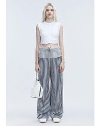 12476cb1cd1b40 T By Alexander Wang Ruched Crop Top in White - Lyst