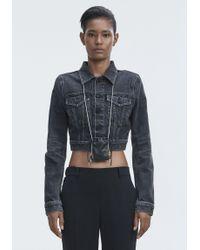 Alexander Wang Gray Bare Cropped Denim Jacket