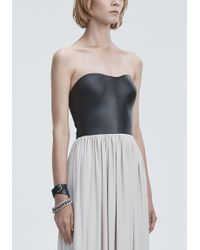 Alexander Wang Gray Molded Leather Bustier Gown