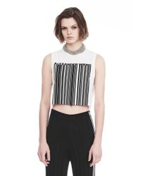 Alexander Wang - White Exclusive Crewneck Crop Top With Bonded Barcode - Lyst