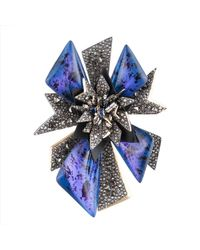 Alexis Bittar | Blue Two-tone Crystal Encrusted Perennial Punk Pin You Might Also Like | Lyst