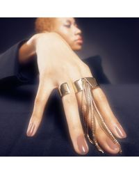 Alexis Bittar - Metallic Box Chain Fringe 3 Finger Ring - Lyst