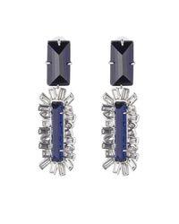 Alexis Bittar Blue Framed Baguette Dangling Clip Earring