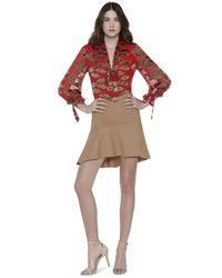 Alice + Olivia Brown Steffie Fit And Flare Short Skirt