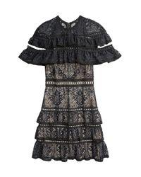 Alice + Olivia Black Jolie Ruffle Tier Dress
