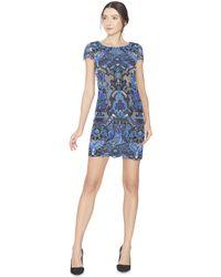 Alice + Olivia | Blue Nakia Boat Neck Midlength Dress | Lyst