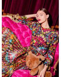 Alice + Olivia Multicolor Katz Floral Pleated Maxi Skirt