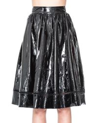 Alice + Olivia Black Misty Patent Leather Skirt