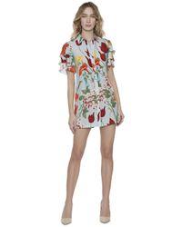 Alice + Olivia Blue Jem Short Sleeve Shirt Dress