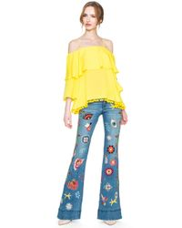 Alice + Olivia - Blue New Ryley Embroidered Low Rise Bell Jean - Lyst