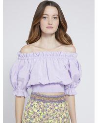 Alice + Olivia Purple Caprina Off Shoulder Crop Top