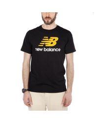 New Balance Black Mt 73587 Essentials Stacked Logo Tee for men