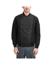 "Stone Island Black ""ghost Piece"" Diagonal Wool Pullover for men"