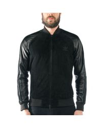 Adidas Black Lux Leather Superstar Track Top for men