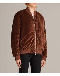 AllSaints - Brown Nash Bomber Jacket - Lyst