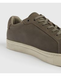 AllSaints Gray Stow Low Top Leather Trainers for men